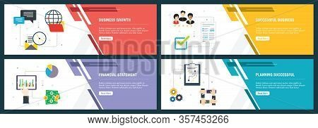 Web Banners Concept In Vector With Business Growth, Successful Business, Financial Statement And Pla