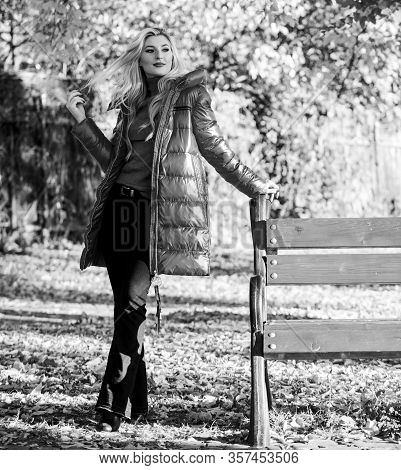 Lady Attractive Fashionista Posing In Jacket. Jacket For Fall Season Concept. Woman Fashionable Blon
