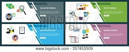 Web Banners Concept In Vector With Evaluation Financial, Report Feedback, Analysis And Rating, Busin