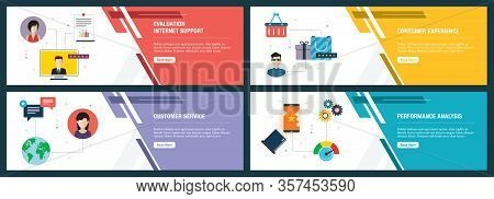Web Banners Concept In Vector With Evaluation Internet Support, Consumer Experience, Customer Servic