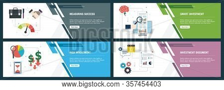 Web Banners Concept In Vector With Measuring Success, Smart Investment, Risk Investment And Investme