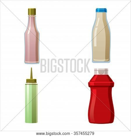 Bottles Sauce And Set. Soy Wasabi Mustard Ketchup Mayonnaise Creamy Sauces. Food Template, Mock Up P