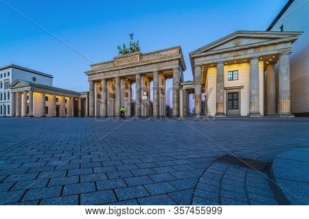 Pariser Platz And Brandenburg Gate. Early Morning. Desert Area Caused By Quarantine As A Result Of C
