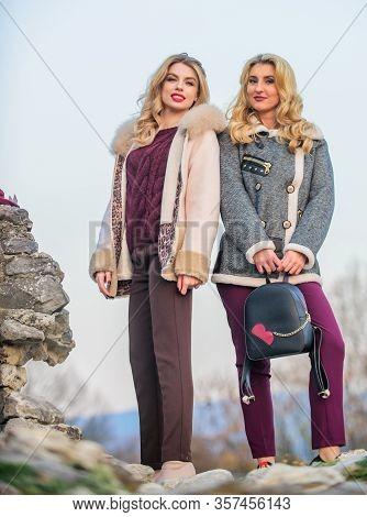 Fur Shop. Backpack Fashion Accessory. Stay Warm And Fashionable. Women Wear Furry Coats. Winter Clot