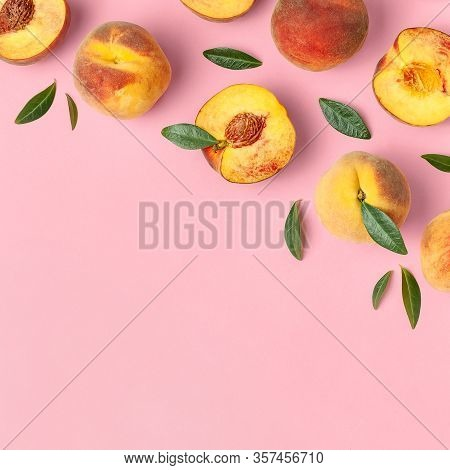Summer Fruit Background. Flat Lay Composition With Peaches. Ripe Juicy Peaches With Green Leaves On
