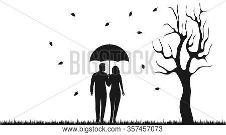 Man And Woman Under An Umbrella. Silhouette Of A Loving Couple Under An Umbrella. Vector Illustratio