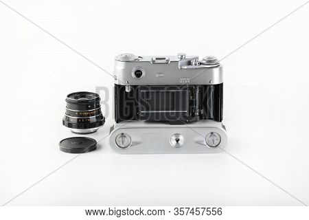 Rare Olympic Version Of Old Soviet Rangefinder Film Camera Fed-4, Released 1980 On White Background.