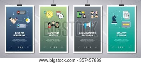 Vector Set Of Vertical Web Banners With Business Handshake, Marketing Meeting, Communication Teamwor