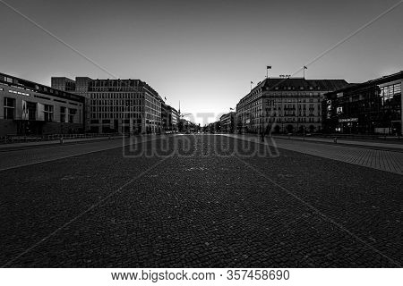 Berlin - March 22, 2020: The Five-star Hotel Adlon, Pariser Platz (paris Square) Near By Brandenburg
