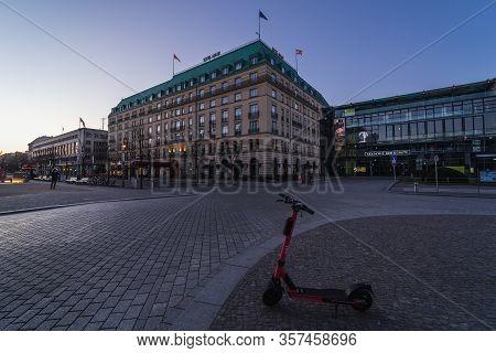 Berlin - March 22, 2020: The Five-star Hotel Adlon And Pariser Platz (paris Square) Near By Brandenb