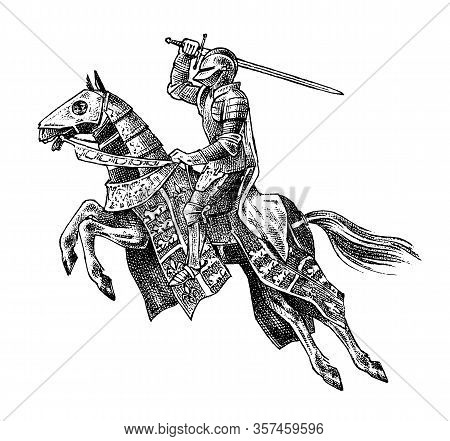 Medieval Armed Knight Riding A Horse. Historical Ancient Military Character. Prince With A Sword And