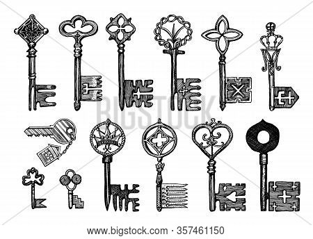 Victorian Keys. Medieval Gothic Locks Set. The Device For Opening The Door. Antique Elements To Bloc