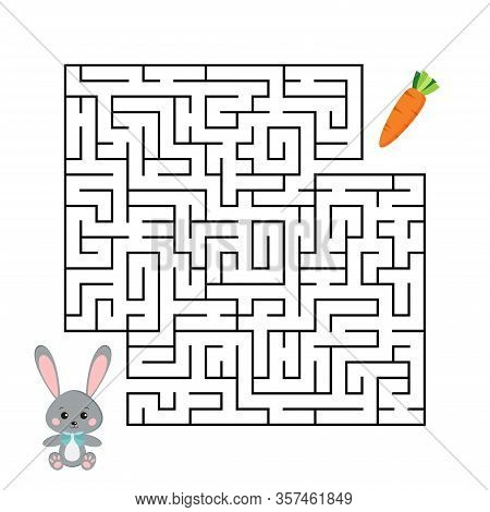 Rabbit And Carrot Maze Game Isolated On White Background. Cartoon Grey Bunny Rabbit And Fresh Orange