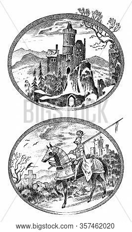 Medieval Knight And Castle. Antique Chateau And Cavalier On Horseback. Ancient Rider. Template For L