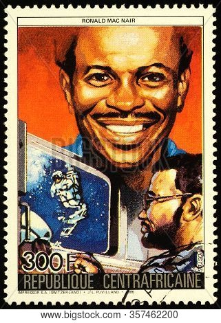 Moscow, Russia - March 24, 2020: Stamp Printed In Central African Republic Shows Ronald Erwin Mcnair