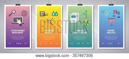 Vector Set Of Vertical Web Banners With Stock Market Investment, Earnings Analysis, Finance Growth,