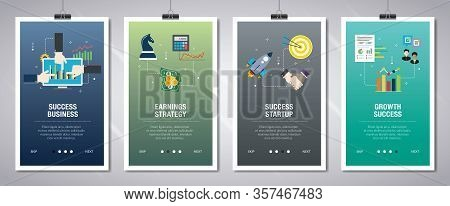 Vector Set Of Vertical Web Banners With Success Business, Earnings Strategy, Success Startup And Gro