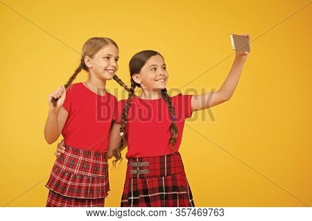 Born To Be Internet Superstar. Girls Take Selfie Smartphone. Take Perfect Photo. Girls Just Want To