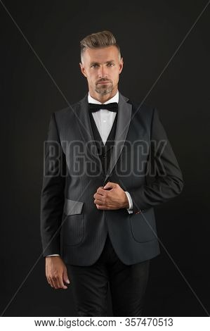 Appreciate Classics. Bearded Man With Formal Look. Hipster Black Background. Brutal Man In Tuxedo Su