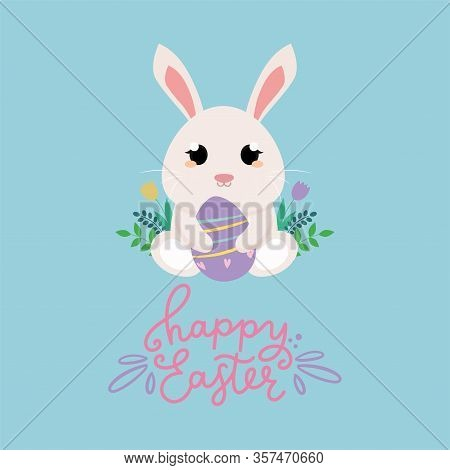 Happy Easter Day Card With A Cute Bunny - Vector