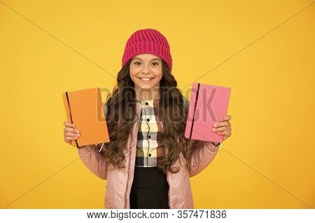 Schoolgirl With Textbooks. Little Smiling Girl Hold Books. Future Textbooks Modern Education. Textbo