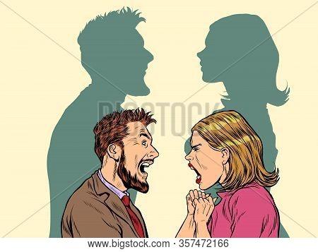 Man And Woman Conflict Quarrel Concept. Pop Art Retro Vector Illustration Kitsch Vintage 50s 60s Sty