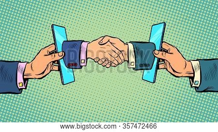 Handshake Deal Business Online Communication Smartphone. Pop Art Retro Vector Illustration Kitsch Vi