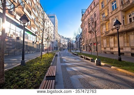 Belgrade. Cobbled Streets In Historic Beograd City Enter View, Capital Of Serbia