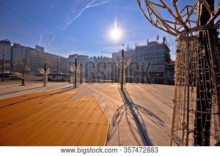 Belgrade. Slavija Square In Beograd Nature And Architecture View, Capital Of Serbija