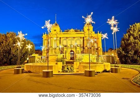 Zagreb. Republic Of Croatia Square And Croatian National Theater Advent Evening View, Famous Landmar