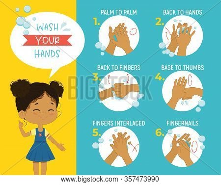 How To Wash Your Hands Step Poster Infographic Illustration. Poster With African Girl Shows How To W