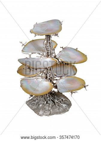 Tree-like Silver Colored Stand For Fruits Or Dessert. Multi-tier  Tray. Isolated On White