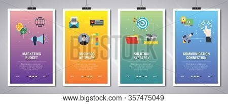 Vector Set Of Vertical Web Banners With Marketing Budget, Business Network, Solution Strategy, Commu