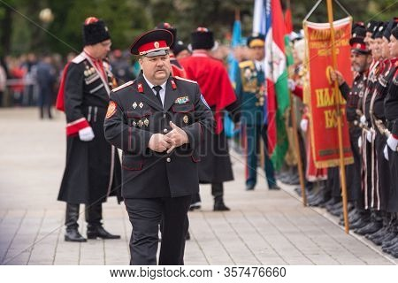 Anapa, Russia - May 9, 2019: The Construction Of The Cossacks In The Parade In Honor Of Victory Day