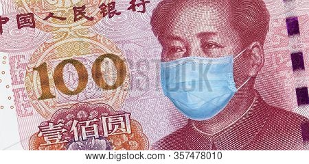 Covid-19 Coronavirus In China. 100 Yuan Banknote With Mao Zedong In A Medical Mask. The Global Finan