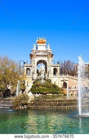 Fountain In Parc De La Ciutadella By Josep Fontsere Called Cascada. Parc De La Ciutadella Is Park On