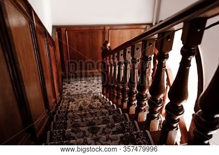 Interior Of Stairs, Rustic Stairs Made Of Wood Inside The House. Stairs Structure. Selective Focus