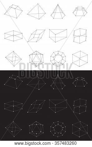Set Of Volumetric Geometrical Colored Shapes. Collection Of Polyhedron. Vector Illustration