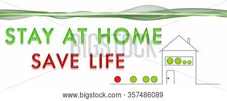 Panorama Design Illustration Stay At Home Save Life