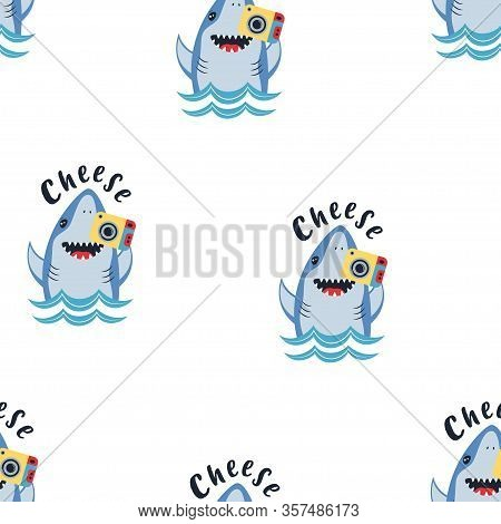 Seamless Pateern Of Cute Shark And Photocamera Isolated On White, Print In Cartoon Style With Animal