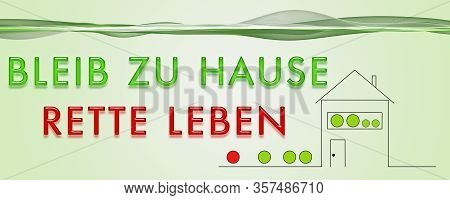 Panorama Design Illustration Stay At Home Save Life In German
