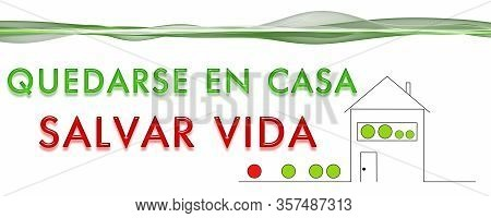 Panorama Design Illustration Stay At Home Save Life In Spanish