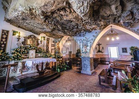 Taormina, Italy - May 5, 2019: Interior Of Madonna Della Rocca Old Church In Taormina City On Sicily
