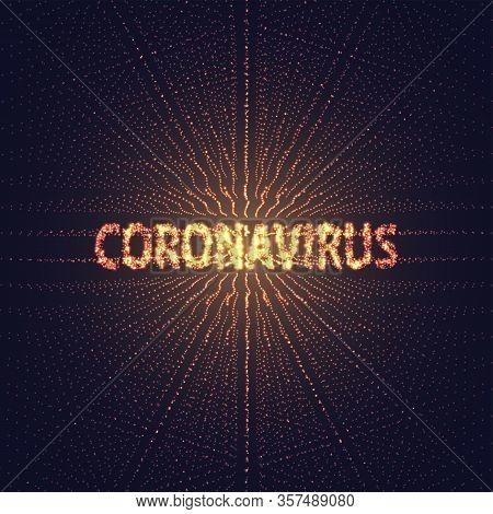 Coronavirus Polygonal Text Covid-19. Virus Infections Epidemic Banner On Black Background. Vector He
