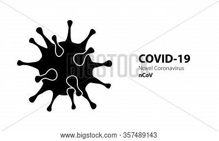 Corona Virus Black Icon Template With Text Covid-19. Virus Infections Epidemic Banner On White Backg