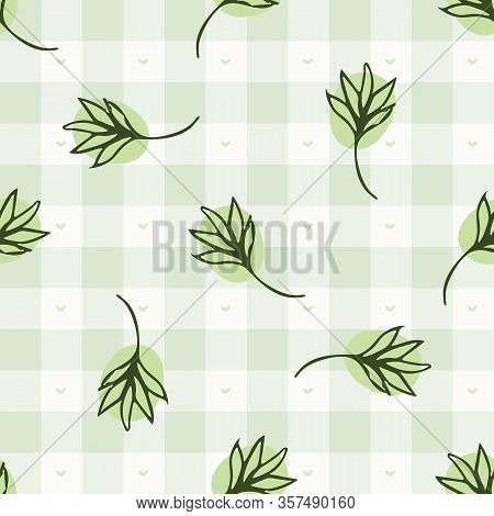 Hand Drawn Thyme Herb Twig Gingham Seamless Pattern. Vector Vintage Check Retro Vegetable Background