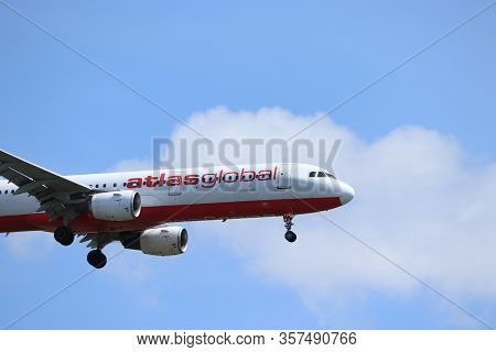 Amsterdam, The Netherlands - July 21st 2019: Tc-ate Atlasglobal Airbus A321-200 On Final Approach To