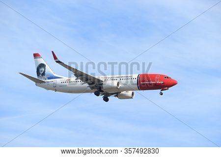Amsterdam, The Netherlands - February, 24th 2019: Ei-fvm Norwegian Air International Boeing 737 Appr