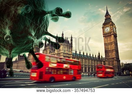 Coronavirus attacking London, the UK. Red bus in motion and Big Ben.