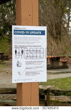 A Sign Posted At A Metro Vancouver Park On Park Etiquette During The Covid-19 Crisis. Vancouver   Bc